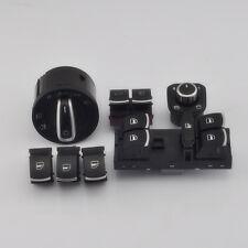 7Pcs OEM Chrome Headlight Master Window & Trunk Switches Set For VW Passat B6 3C