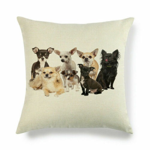 "Pillow Chihuahua Cover Decorative 18/"" Case Home Dog Animal Pattern Linen Cushion"