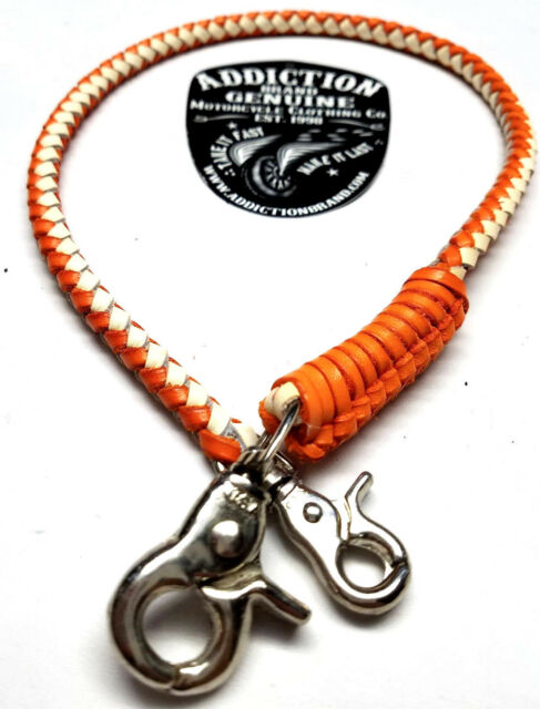 Handmade Biker chain genuine braided leather, Trucker style wallets made in USA