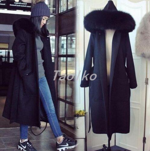 Uld Jacket Kvinders Outwear Warm Fur Hooded Lang Fit Korea Slim Style Winter Faux aHwzBq1xan