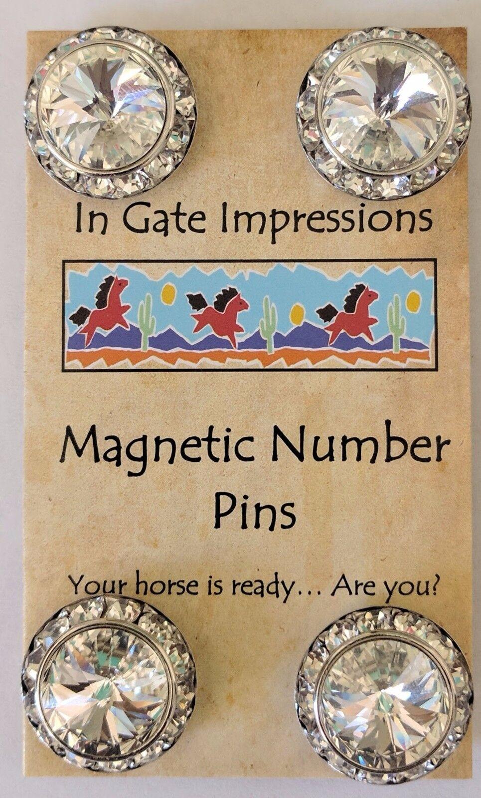 JUMBO CRYSTAL Magnetic number pins horse show number magnet Swarovski Crystals