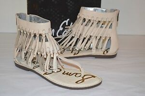 c96de3375656 New  130 Sam Edelman Griffen Ivory Leather Sandal Fringe Thong Boho ...
