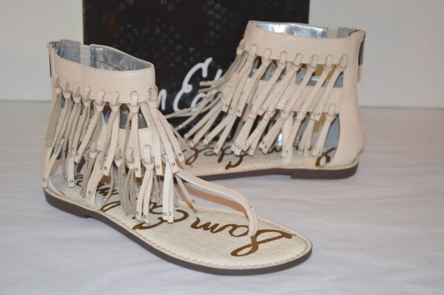 5dfb31e7a658 New  130 Sam Edelman Griffen Ivory Leather Sandal Fringe Thong Boho ...