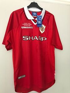 timeless design b0fa3 ea28b Details about Manchester United Retro Remake Champions League winners shirt  1999 Beckham Large
