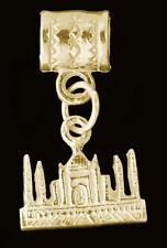 TAJ MAHAL INDIA travel Vacation charm Gold Plated Silver European Bead Dangle