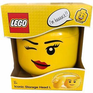 LEGO Groß Aufbewahrung Kopf Mädchen Blinzeln Gesicht Für Ziegel Spielzeug Kinder