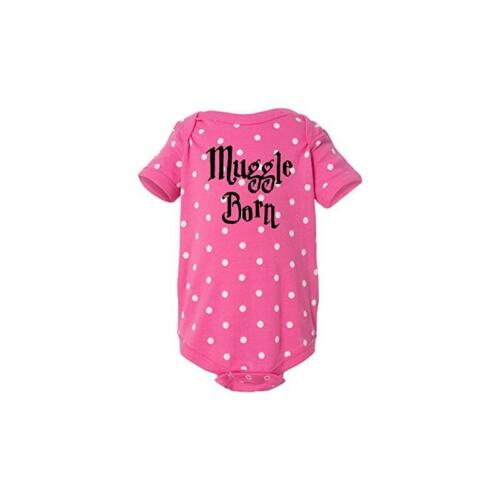 Muggle Born Funny Harry Potter Baby One-Piece Raspberry White Dot by BeeGeeTees