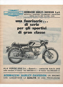Pubblicita-1967-MOTO-MOTOR-HARLEY-DAVIDSON-ALA-VERDE-SPORT-advertising-werbung