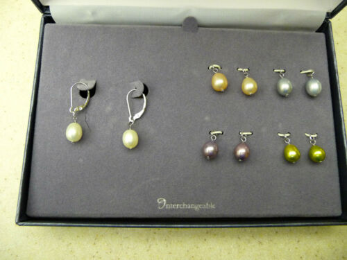 #167# New Set of 5 Color Genuine Freshwater Pearl Drop Dangling Earrings Pearls