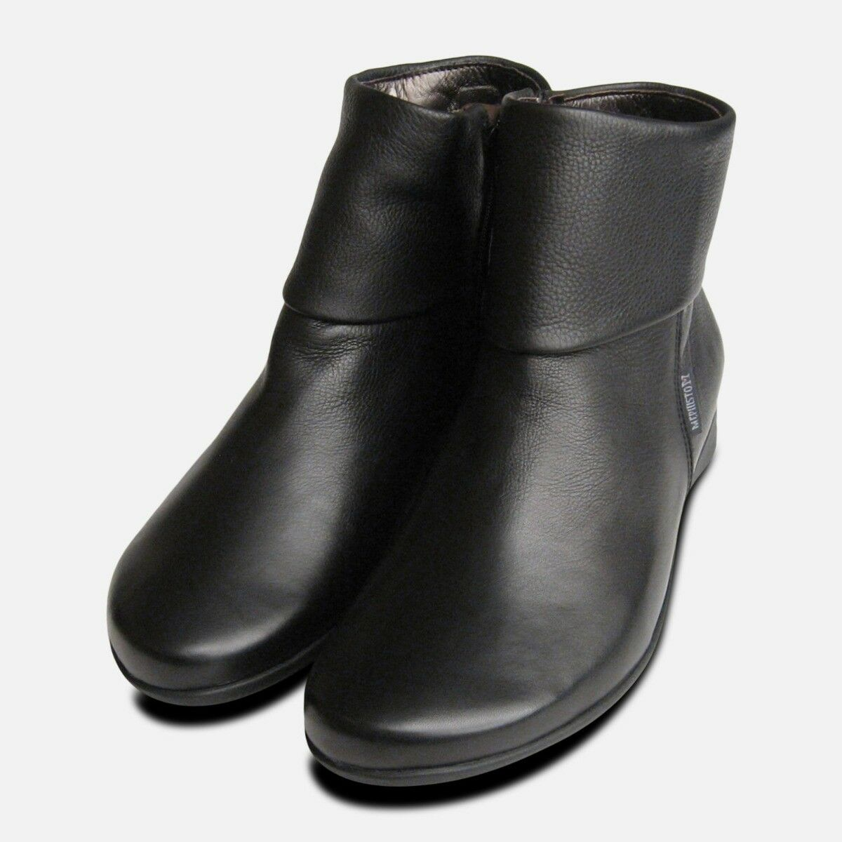 Mephisto Ladies Ladies Ladies Fiducia Black Leather Zip Boots 10542f