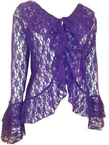d7407de6950be eaonplus PURPLE Floral Lace Bell Sleeve Cover-Up Cardigan Top Plus ...