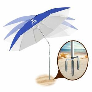AMMSUN Portable Outdoor Picnic Umbrella Sun Protection with Tilt for Outdoor Patio,Sport,Pool,Garden Blue