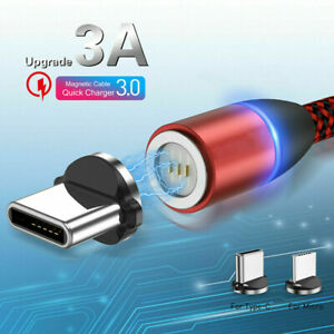 3A-Micro-USB-LED-Magnetic-Fast-Charger-Charging-Cable-For-Android-iPhone-Type-C