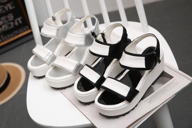 Sandales femmes blanc argent noir Compensé Plateau 5 cm Élégant et Confortable