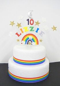 Image Is Loading Rainbow Star Moon And Cloud Personalised Birthday Cake