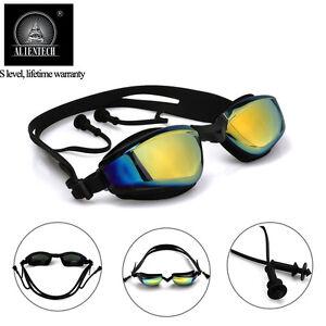 a56c2888d46 Alientech Anti Fog HD UV Mirrored Swimming Goggles Soft Glasses Ear Plugs  Adult