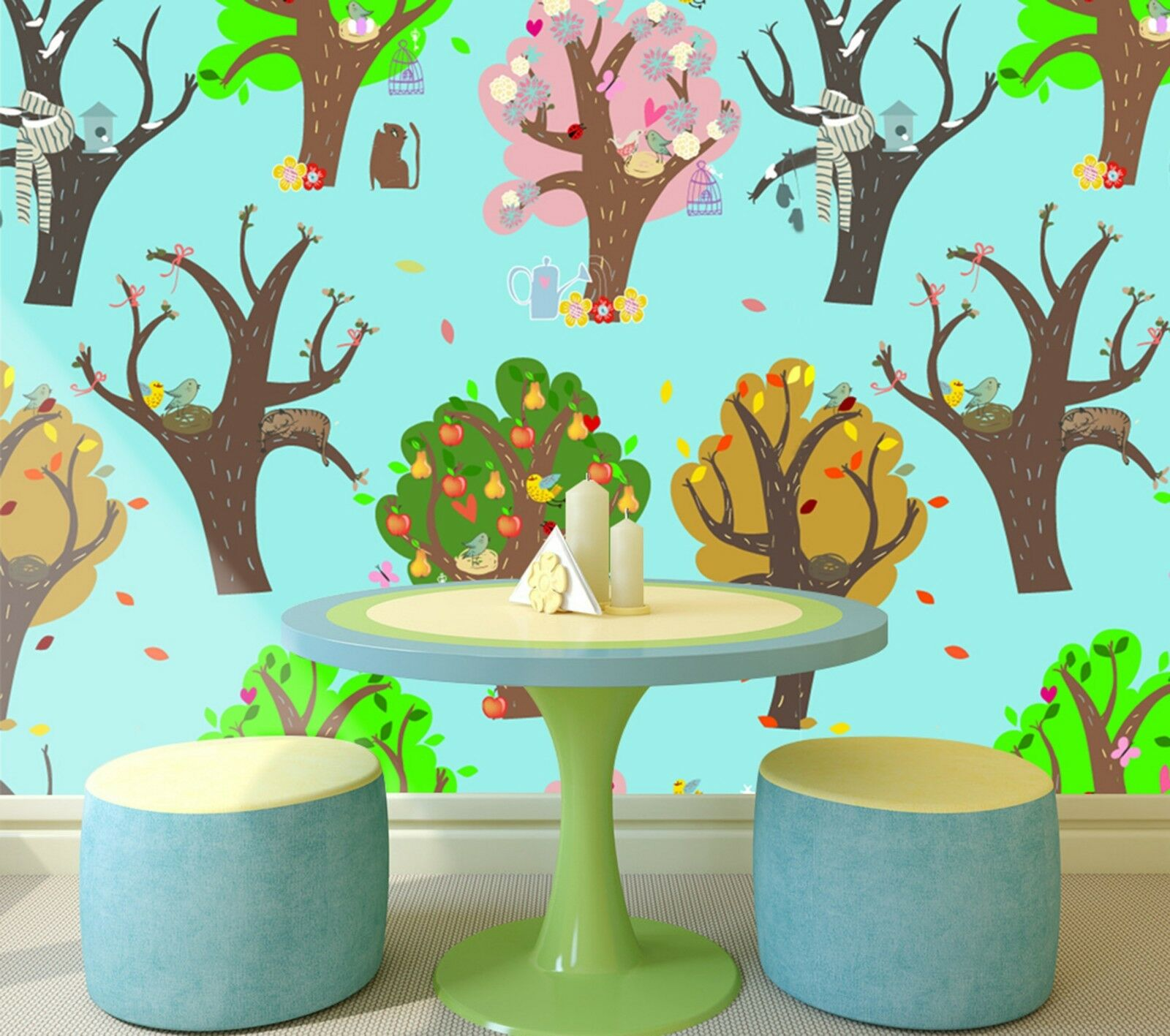 3D Fruit trees trees trees Graffiti Wall Paper Print Decal Wall Deco Indoor wall Mural e5866c
