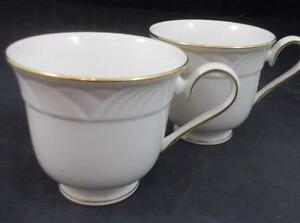 Lenox-China-GOLDEN-SAND-DUNE-2-Cups-no-saucers-A-CONDITION-mfg-2nd