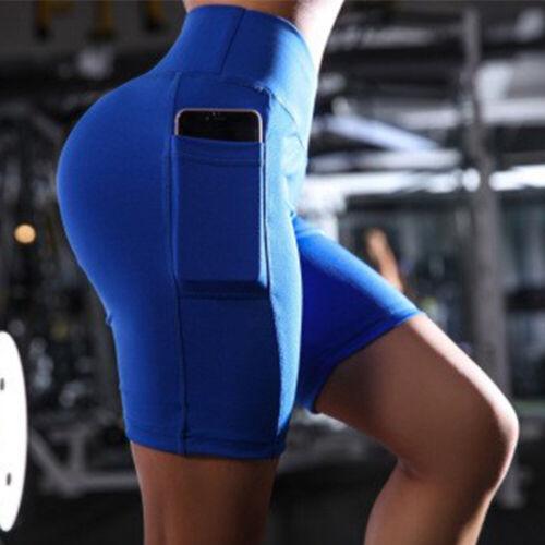 Womens High Waist Yoga Shorts Pocket Biker Pants Sports Gym Stretch Leggings N7