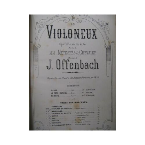 OFFENBACH J. The Fiddler Singer Piano 1880 partition sheet music score