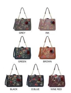 Romaans Tote Woman's brown grey Pom Hand blue green Prints Cute wine Lovely Black Bag Fashion Ne Stylish pink nrr7d0qZw4