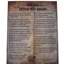 10 Com-MAN-dments Tin Man Cave funny home bar workshop garage room metal sign