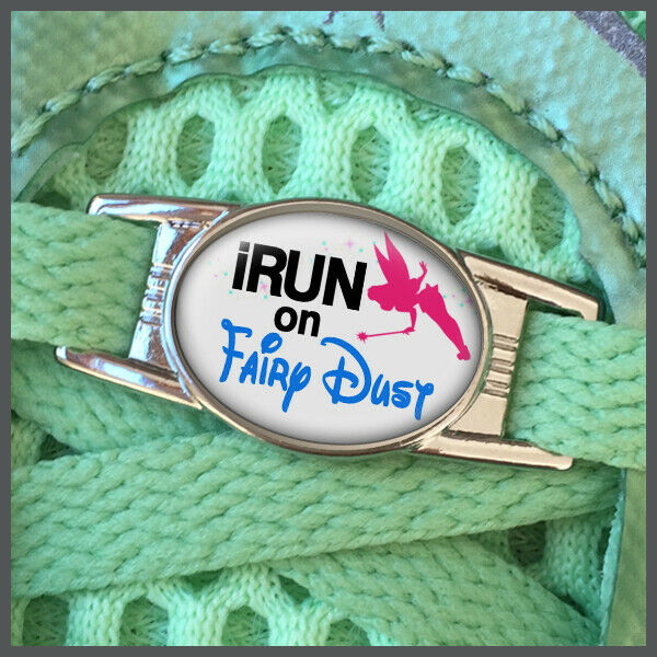 RunDisney I Run On Fairydust with Tinkerbell Shoelace Shoe Charm or Zipper Pull