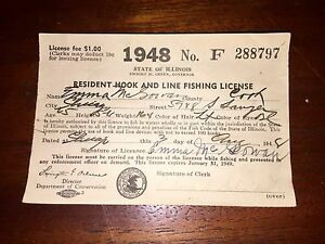 Two 1948 paper fishing license from illinois emma james for Fishing license illinois