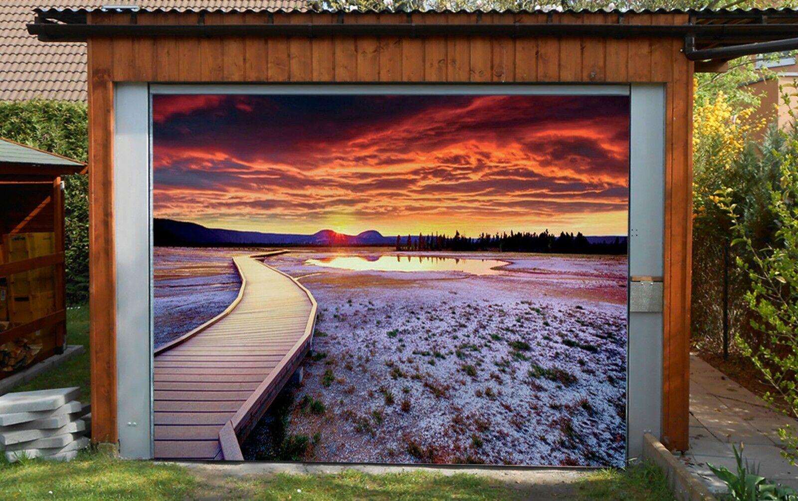 3D Sunset Tree Bridge 4 Garage Door Murals Wall Print Wall AJ WALLPAPER UK Lemon