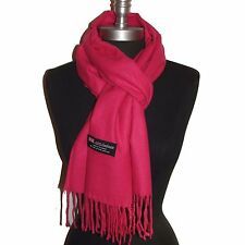 """New Fashion100% Cashmere Scarf Solid Hot Pink Scotland Made Warm Wool Wrap""""Sd17"""""""