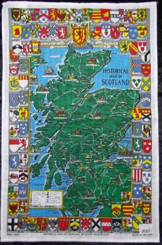6 ou 12 Carte historique de l/'Écosse cotton linen T serviettes tissu verre boîtes de 3