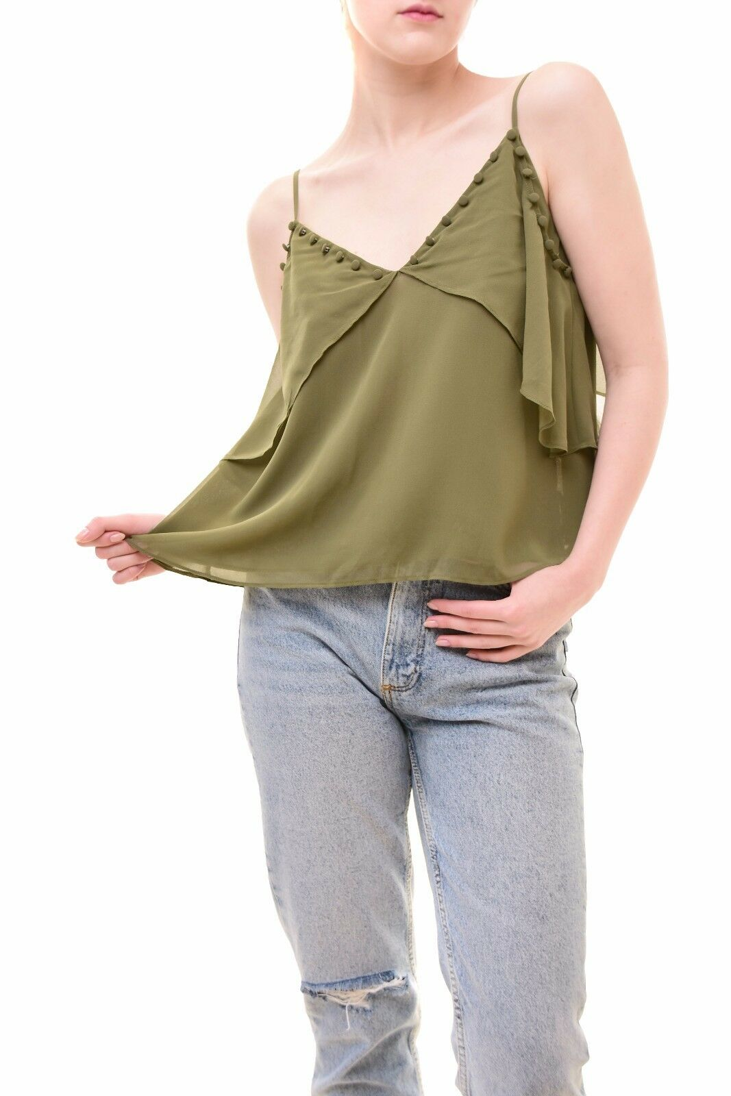 Keepsake Women's Stylish Morning Rain Polyster Top Olive Size S RRP  BCF79