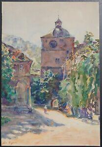 Johannes-Paul-Ufer-Heidelberg-Aquarell-um-1920