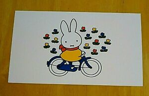 039-WITH-LOVE-FROM-MIFFY-039-POSTCARD-MIFFY-CYCLES-THROUGH-A-FIELD-OF-TULIPS-NEW