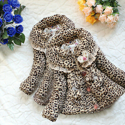 Baby Girls Faux Fur Leopard Outwear Coat Winter Fluffy Thicken Snowsuit Jacket