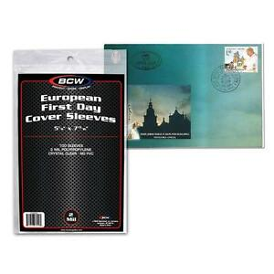 Pack of 100 Sleeves BCW European First Day Cover Sleeves 5 1/8 x 7 13/16 (#740)
