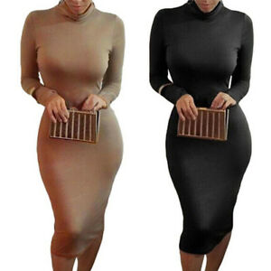 Autumn-Winter-Women-Solid-Turtleneck-Long-Sleeve-Slim-Bodycon-Tight-Dress-MD