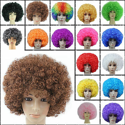 CURLY AFRO WIGS MULTI COLOR PARTY CLOWN FUNKY DISCO WOMENS MENS HAIR WIGS