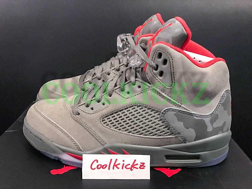 Nike Air Jordan 5 V Retro Camo 3M 4Y-13 Dark Stucco Fire Red 136027-051 Seasonal clearance sale