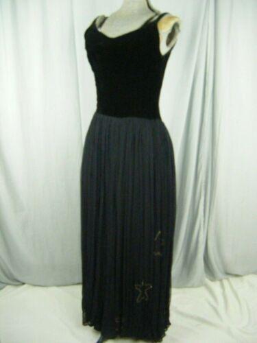 Vtg 40s Black Velvet/ Sheer Tulle Net Long Dress w