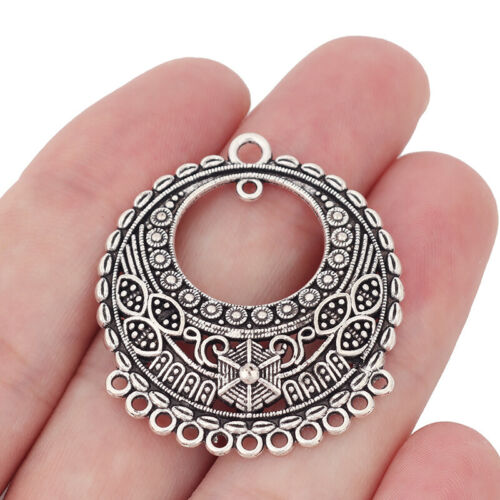 10 Antique Silver Chandelier Multi Connector Charms Pendants for Earring Making