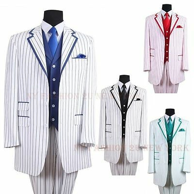 Men/'s Elegant Luxurious Wool Feel Pinstripes Suit with Solid Vest Blue Stripes