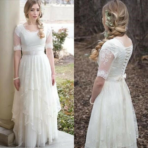Vintage Modest Half Sleeves Scoop Lace Wedding Dress Layers Bridal Gowns Custom