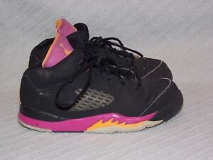 Nike-Air-Jordan-5-Retro-Black-Bright-Citrus-Fusion-Pink-440890-067-Sneaker-sz-9C