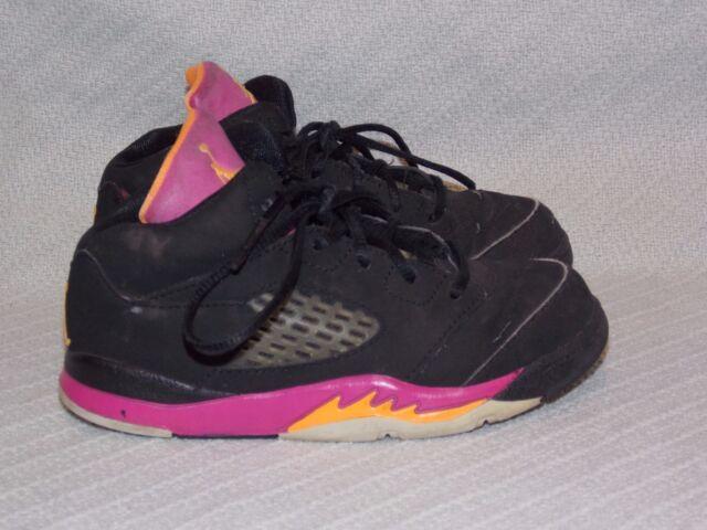 Nike Air Jordan 5 Retro Black/Bright Citrus/Fusion Pink 440890-067 Sneaker sz 9C