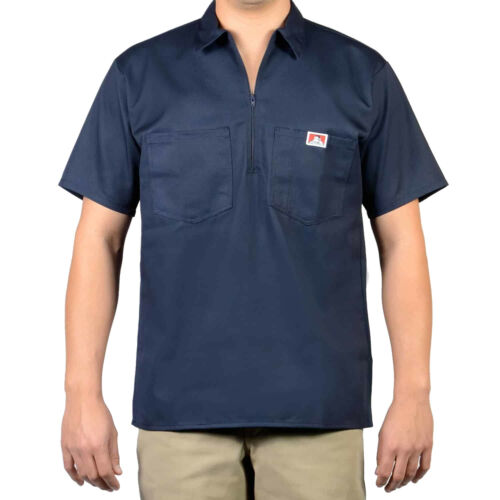 Workwear since 1935 ORIGINAL BEN DAVIS HALF ZIP SLEEVE SHIRT SOLID NAVY