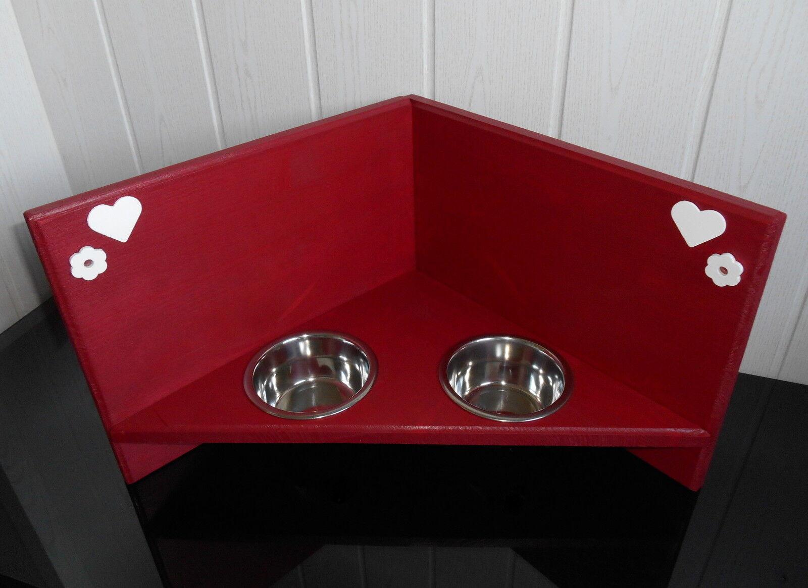 Hundenapf   Hundebar   Futternapf   Ecklösung  Futterbar, Näpfe, in rot  (414)