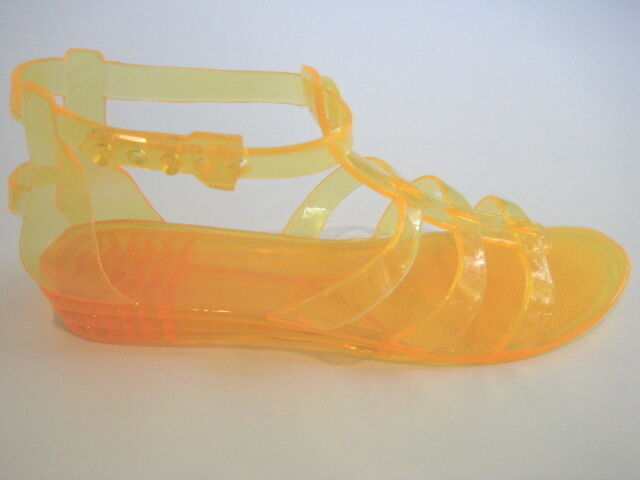 Bon Chic Bon Genre MAXAZRIA jaune Gladiator Jelly sandales femme taille 5 m