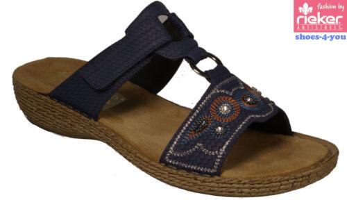 Talons Bleu Strass Rieker Pantoufles Velcro Nouveauté Wedge Shoes AYYrExwt