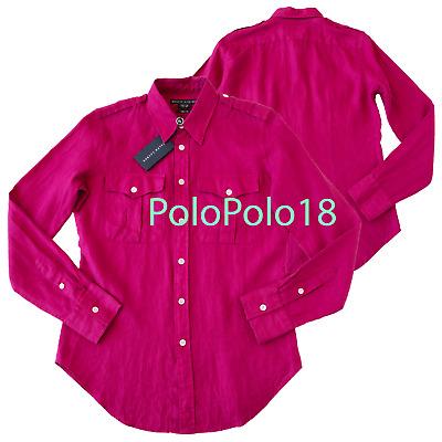 New $198 Ralph Lauren Women 100% Linen Dress Shirt 8